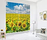 Cheap LB Sunflower 3D Window Curtains for Bedroom Living Room,Sea of Sunflowers Under the Sun Room Darkening Thermal Insulated Blackout Curtains Drapes 2 Panels,42 x 63 Inches