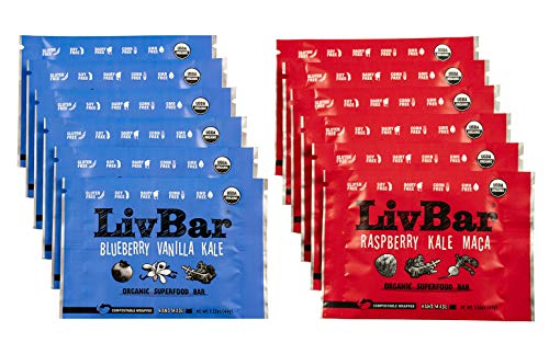 LivBar Organic All Natural Macro Snack Bar – Berry Nice Variety Pack, 12 Count – Healthy & Delicious Non GMO Gluten, Nut, Soy, and Dairy Free Protein Bar with Low Sugar.