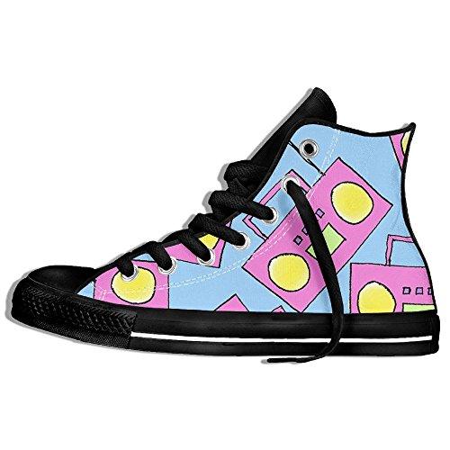 Classiche Sneakers Alte Scarpe Di Tela Anti-skid Bella Rosa Radio Casual Da Passeggio Per Uomo Donna Nero