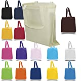 BagzDepot 12-Pack 100% Cotton Canvas Reusable Grocery Tote Bags with Bottom Gusset - Wholesale Eco Friendly Blank Cotton Bags in Bulk 15-Inch-by-16-Inch by 3-Inch (Mix-Assorted)