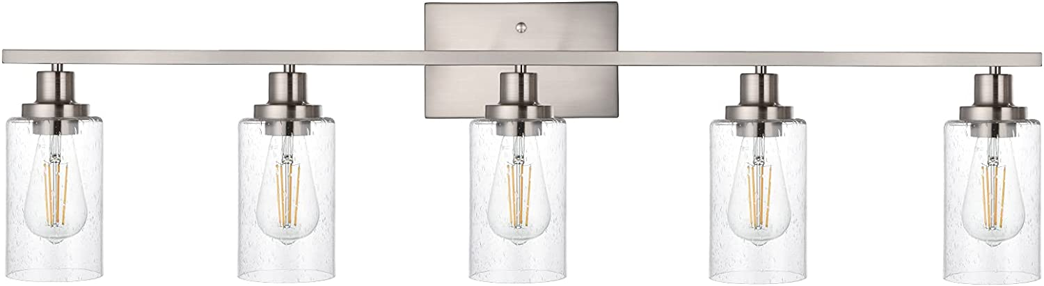 WINSHEN 40-Inches Length Bathroom Vanity Lighting Fixtures Over Mirror in Brushed Nickel, 5-Lights Industrial Sconce Wall Lamp with Seeded Glass Shades