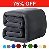 Fleece Queen Blanket 330 GSM Super Soft Warm Extra Silky Lightweight Bed Blanket, Couch Blanket, Travelling and Camping Blanket (Dark Grey)