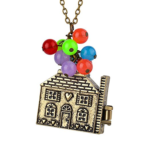 Minestone Colorful Beads Pendant Long Necklace Locket Necklaces Flying House Necklace