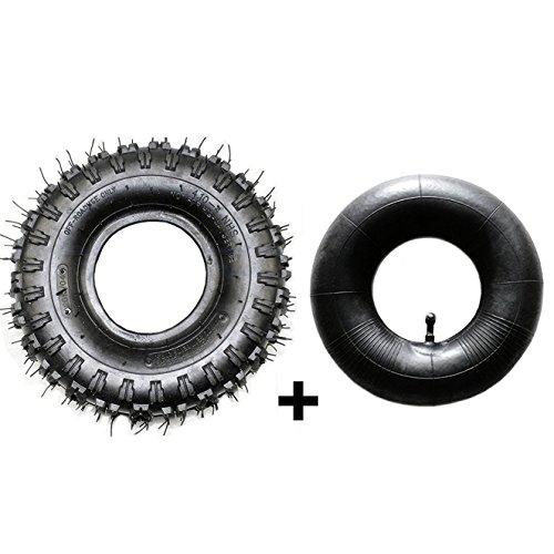 JCMOTO Tire And Inner Tube Set 4.10x3.50-4 (4.10-4) | Off Road Mud ATV Quad Mini Pocket Bike Go kart ()