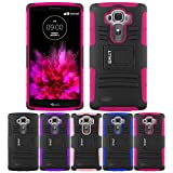 LG G4 Case, HLCT Rugged Shock Proof Dual-Layer PC and Soft Silicone Case With Built-In Kickstand for LG G4 (2015) (Rose Pink)