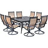 Cheap Hanover Monaco 9 Piece Dining Set with Eight Swivel Rockers and a Large 60″ Square Dining Table