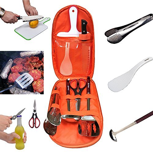 - Camping Cooking Utensils Set Kitchen Camp Cookware,Camping Cutting Board,Rice Paddle, Tongs, Scissors, Knife 7 Pieces Kits