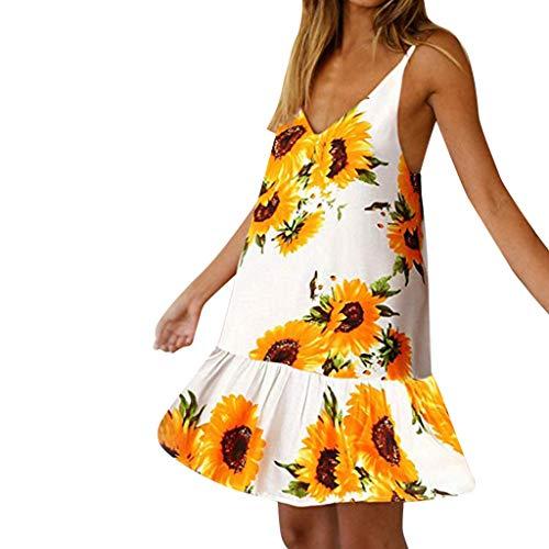(Lotus.Flower Women's Summer Floral Printed V Neck Ruffle A line Swing Beach Short Dress White)