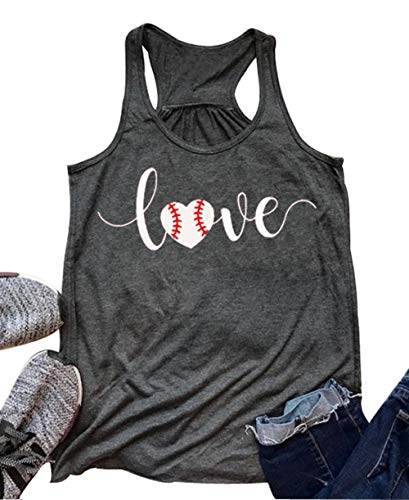 Baseball Softball Tank Top - Love Baseball Mom Racerback Tank Tops Women Summer Casual Cute Sleeveless Shirts Tee (Small, Dark Gray)