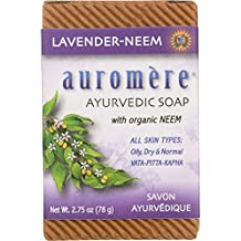Ayurvedic Bar Soap Lavender-Neem by Auromere - All Natural Handmade and Eco-friendly Bar Soap for Sensitive Skin - 2.75 oz (2 Pack)