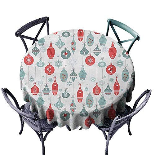 VIVIDX Washable Round Tablecloth,Christmas,Vintage Textured Xmas Elements Joyful Gleams Christmastide Artsy Holly Pattern,Party Decorations Table Cover Cloth,50 INCH,Blue Red