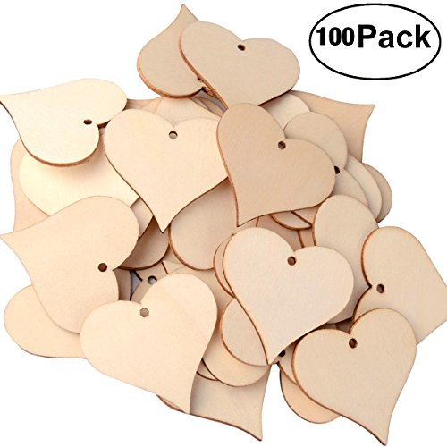 UTOPER Wooden Love Heart Slices Blank Name Tags Wood Art Craft Pieces for Wedding DIY Projects Card Making (100pcs, 47mm) (Tag Heart Keychain)
