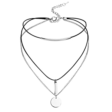 suche nach neuesten gemütlich frisch reduzierter Preis MixMia Damen Choker Halskette Halsband Multilayer Kette Edelstahl Anhänger  Halskette Halsband 31.8,+8cm Verlängern