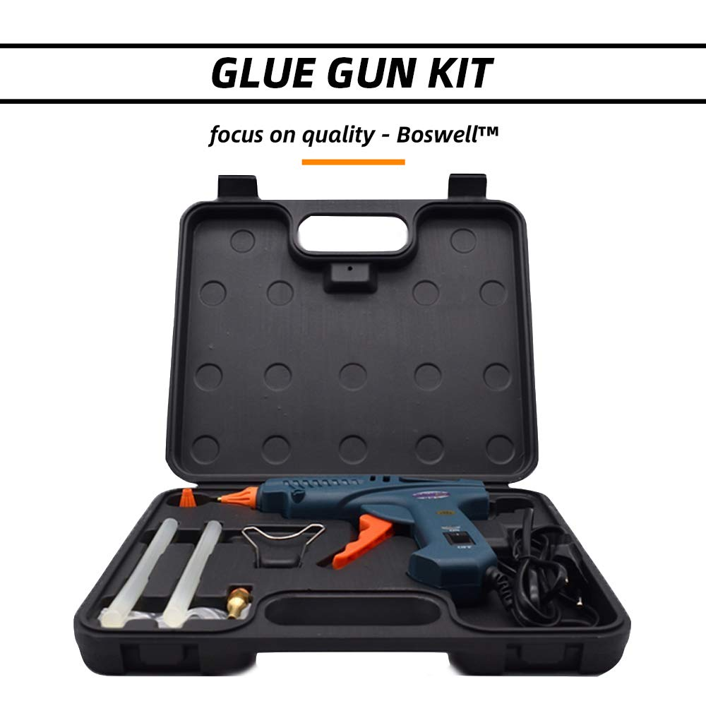 100 Watts Glue Gun Kit, Include 0.43'' 11mm Glue Sticks Copper Nozzles Nozzle Covers Aluminium Spanner with Power Switch Full Size Hot Melting Glue Gun, Tool Kit Box by Boswell