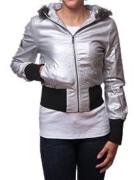 Vecfa by Gazoz Womens Stylishly Warm Junior Winter Jacket with Hood Silver  Medium 43f201406c