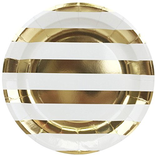 Just Artifacts Round Paper Party Plates 9-Inch (12pcs) - Metallic Gold Striped - Decorative Tableware for Birthday Parties, Baby Showers, Grad Parties, Weddings, and Life Celebrations!