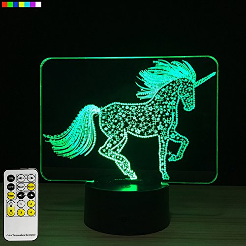 Night Light Unicorn 3d Night Light 7 Colors Change with Remote Night Lights for Kids Room Decor or Perfect Gift for Kids by Easuntec (Unicorn)