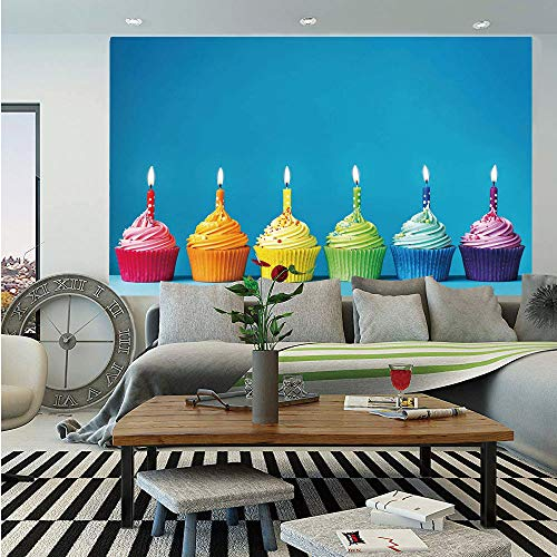 SoSung Birthday Decorations Wall Mural,Cupcakes in Rainbow Colors with Candles Fun Homemade Party Food Sweet,Self-Adhesive Large Wallpaper for Home Decor 55x78 -