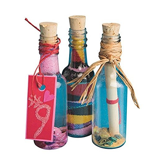 12 Sand Art Bottles Plastic 50ml with wood corks -