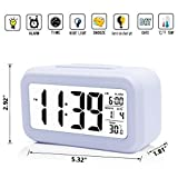 iProtect Battery Operated Small Digital Alarm Clock - Perfect for the Bedroom, Kitchen, Desk, Table, Bedside or for Travel with Extra Large Display, Snooze, Date, Temperature and Light Sensor in White