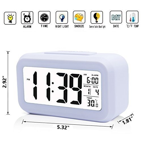 iProtect Battery Operated Small Digital Alarm Clock - Perfect for the Bedroom, Kitchen, Desk, Table, Bedside or for Travel with Extra Large Display, Snooze, Date, Temperature and Light Sensor in White Mp3 Music Organizer