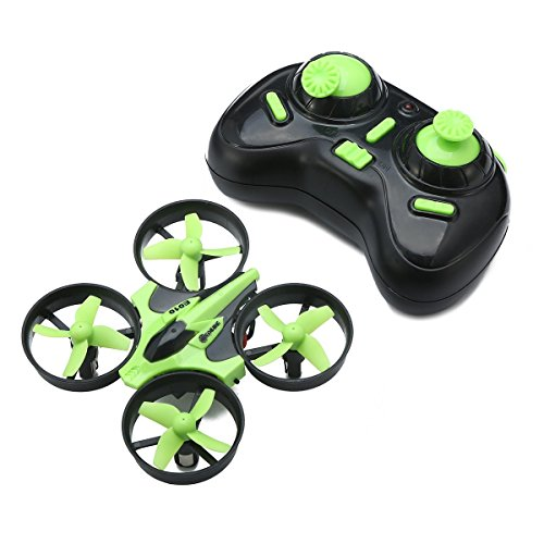 EACHINE Mini Quadcopter Drone, E010 2.4GHz 6-Axis Gyro Remote Control Nano Drone for Kids Adults Beginners – Headless Mode, 3D Flip, One Key Return (Green)
