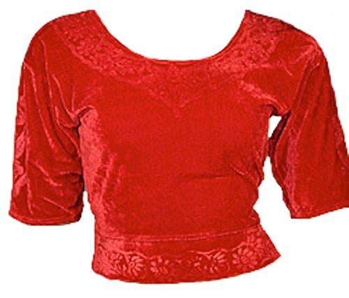Trendofindia Rouge Choli (Sari Haut) Velours Gr. S JusquÀ 3XL Idéal au-Dessus Dance Orientale - Rouge, S