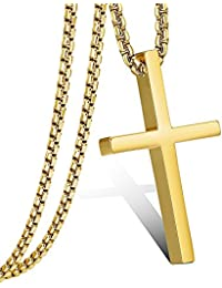 Mens Womens Cross Pendant Necklace Stainless Steel Small Jesus Cross Pendant Chain 22Inches