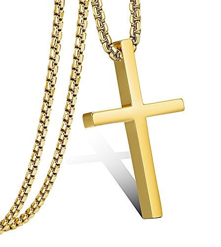 Jstyle Cross Necklace For Men Women Stainless Steel Small Jesus Pendant Necklace 22 Inches Gold