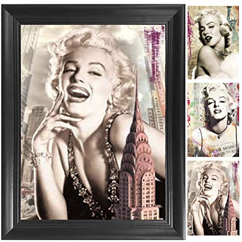 Vintage Marilyn Monroe 3D Poster Wall Art Decor Framed Print | 14.5x18.5 | Lenticular Posters & Pictures | Memorabilia Gifts for Guys & Girls Bedroom | Celebrity Movie Fan Room Picture & Decorations