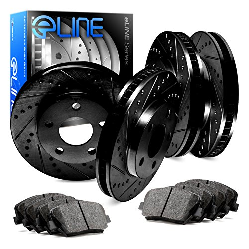 Dual Disc Front Brake - Front,Rear Eline Series Black Drilled Slotted Brake Rotors + Ceramic Pads A499