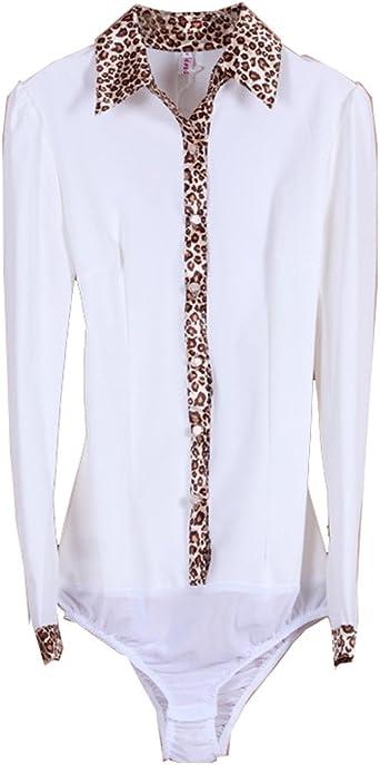 ZAMME Mujer de Manga Larga de Gasa Leopard Delgada Camisa Body Blusa Superior: Amazon.es: Ropa y accesorios