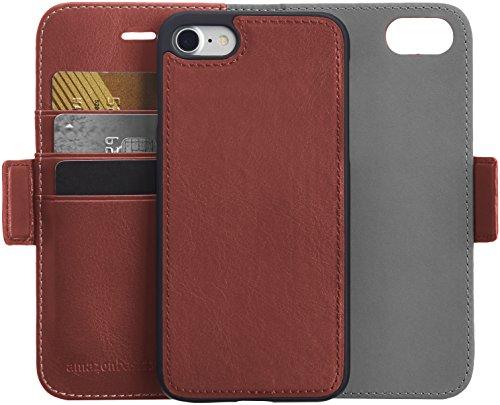 AmazonBasics iPhone 8 / 7 PU Leather Wallet Detachable Case, Dark Brown