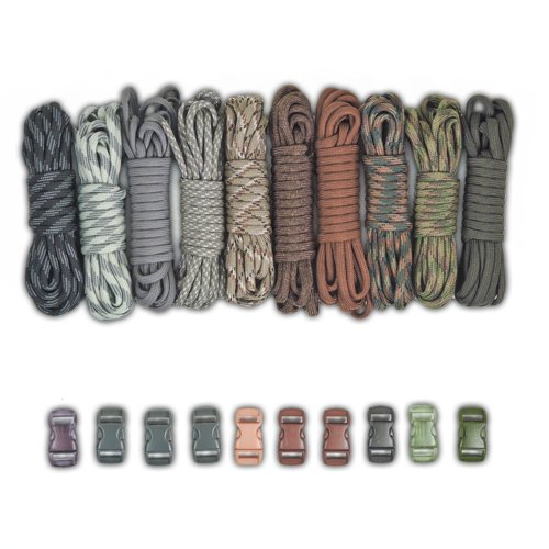 Paracord Planet Paracord Survival Bracelet Project Gray Colors Combo Kit with 100 Feet in 10 Colors and 10 - Chocolate Buckle Dark