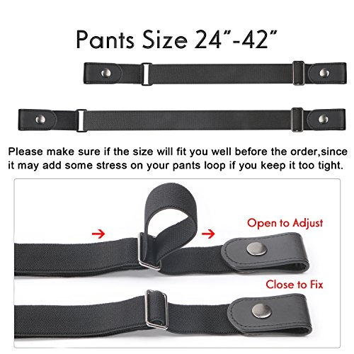 No Buckle Women/Men Stretch Belt Elastic Waist Belt Up to 42'' for Jeans Pants Dresses (Pants Size 34''-48'', 01-black) by WERFORU (Image #2)