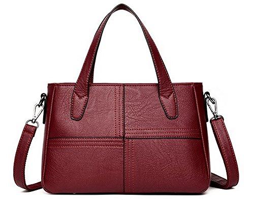 Fête Stitching Noir tout Vineux fourre à Sacs GMBBB181584 Sacs Rouge Femme Contrast bandoulière AgooLar ExqPwSYfU