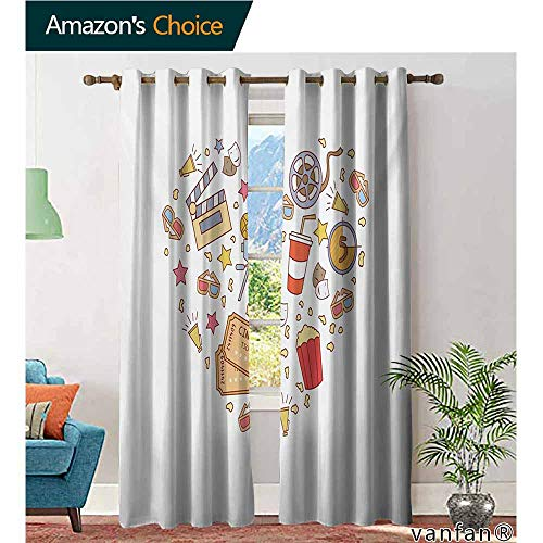 (Big datastore Grommet Top,Movie TheaterCinema Attribute Love Retro Icons Collection in The Shape of a Heart Colorful,Living Room Curtain Panels,Multicolor,W96 xL96)
