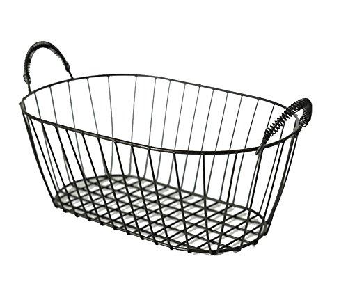 Hoocozi Oval Bathroom Essential Oil Jewelry Storage Wire Basket, 1Pce, Black