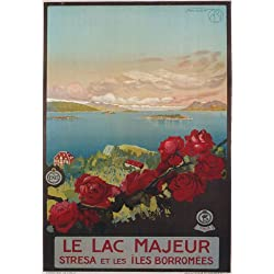 "TV13 Vintage 1920's Italian Italy Le Lac Majeur Lake Maggiore Travel Poster Re-Print - A1 (841 x 610mm) 33"" x 24"""