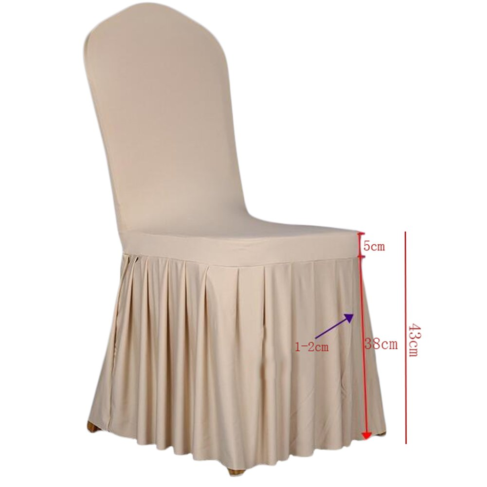 SoulFeel 1 x Long Stretch Spandex Dining Chair Cover Protectors, Super Fit Banquet Chair Seat Slipcovers for Hotel and Wedding Ceremony, Removable & Washable (Champagne) by SoulFeel (Image #3)