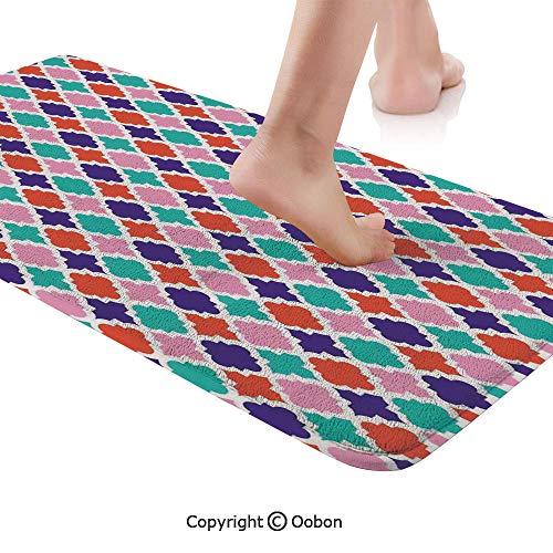 Ikat Decor Rug Runner,Colorful Mosaic Tiles Oriental Asian Islamic Ikat Indonesian Patterns Motifs Decorative Home,Plush Door Carpet Floor Kitchen Decor Mat with Non Slip Backing,48 X 17.7 Inches,Mult