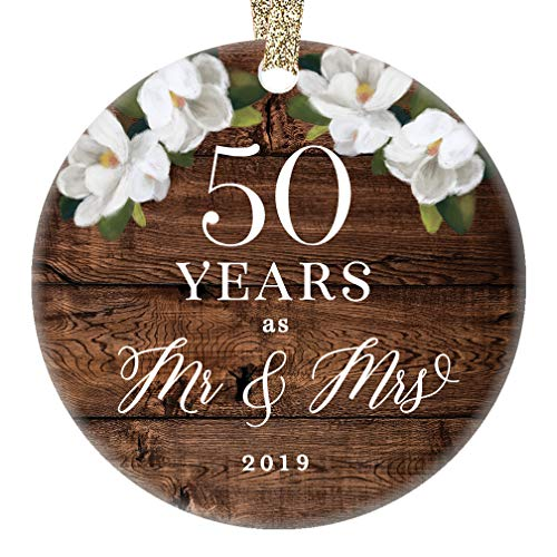 Christmas 2019 Mr. & Mrs. Ornament 50th Fiftieth Golden Wedding Anniversary Ceramic Collectible 50 Fifty Years Married Couple Rustic Floral 3