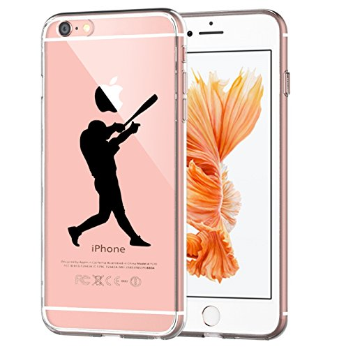 Matop Compatible for iPhone 6/6S Case Flexible Soft Transparent TPU Silicone Skin Scratch-Resistant Premium Anti-Slip Shockproof Cute Back Cover for iPhone 6/iPhone 6S 4.7inch (Baseball)