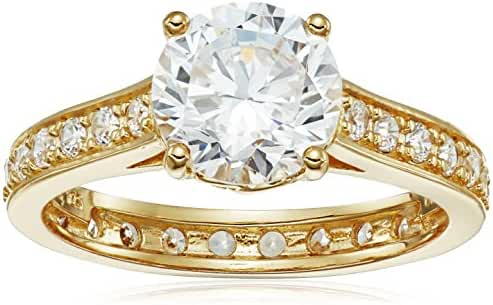 18k Yellow Gold Plated Sterling Silver Round White Cubic Zirconia 8mm Ring