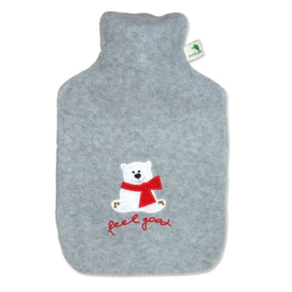 Hugo Frosch 1.8L Classic Hot Water Bottles Eco Hot Water Bottles in Highest Quality - Made in Germany (7. w/Fleece Cover(Grey)) by Hugo Frosch
