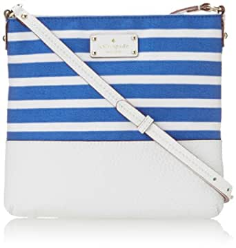 kate spade new york Grove Court Fabric Cora Cross Body Bag,Azure Blue/Fresh White,One Size