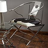 Quentin Stainless Steel Black and White Cow Hide Leather Accent Chair