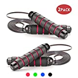 Jump Rope Workout Tangle-Free with Memory Foam Handles Adjustable Skipping Rope Ideal for Training, Fitness and Cardio - Rapid Speed Rope Crossfit Jump Ropes for Women, Men, Kids,2 Pack(Red)