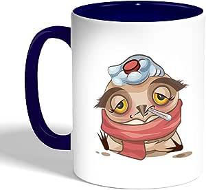 Printed Coffee Mug, Blue Color, Cartoon Drawings - Owl