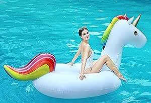 Global Tronics Unicornio Gigante Inflable 255cm, Hinchables Piscina Juguetes Colchoneta Acuáticos Divertidos Ummer Beach Swim Ring Fiesta Balsa con ...
